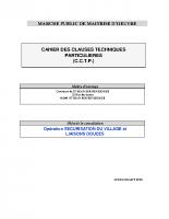 Le cahier des clauses techniques particulières (CCTP)